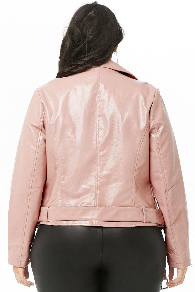 5e46eacac49 Forever 21 - Pink Women s Plus Size Faux Patent Leather Moto Jacket - Lyst.  View fullscreen