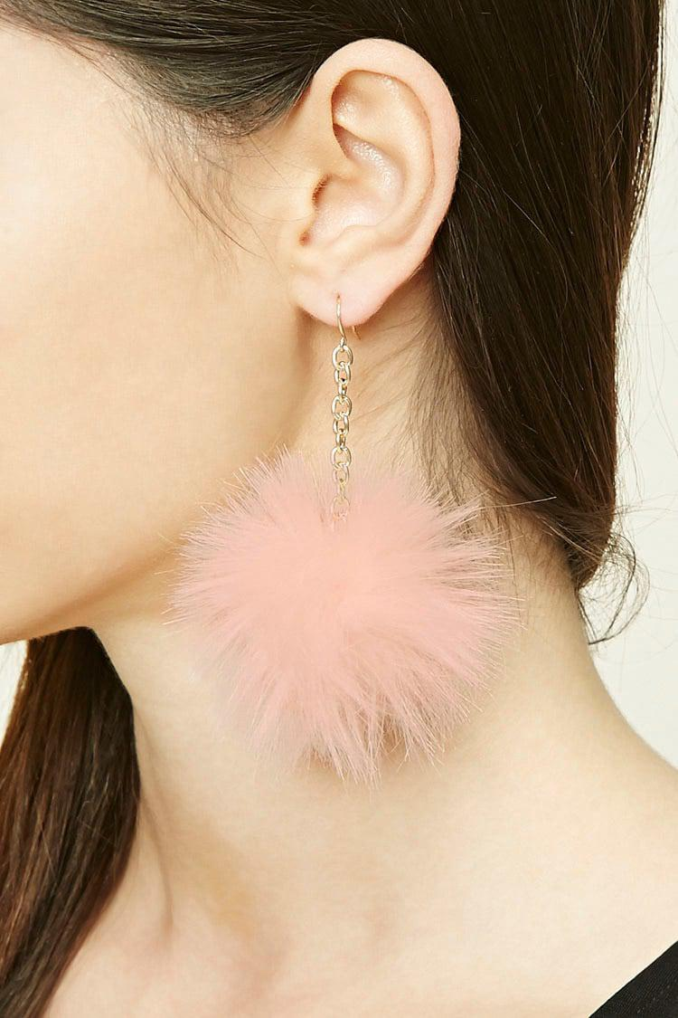 baa0b8742 Forever 21 Pom-pom Drop Earrings in Pink - Lyst