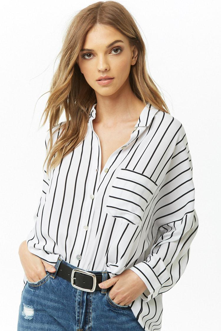 e285d2f94b9 Forever 21 Women s Striped High-low Shirt in White - Lyst