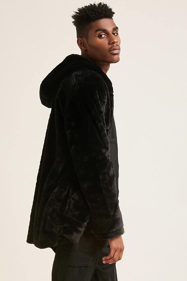 993a360f4a5 Forever 21 Jordan Craig Hooded Faux Fur Jacket in Black for Men - Lyst