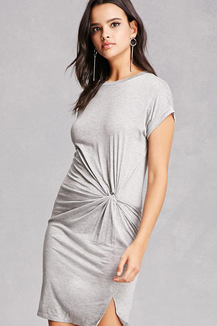 acc10235a5 Forever 21 Faux-wrap T-shirt Dress in Gray - Lyst