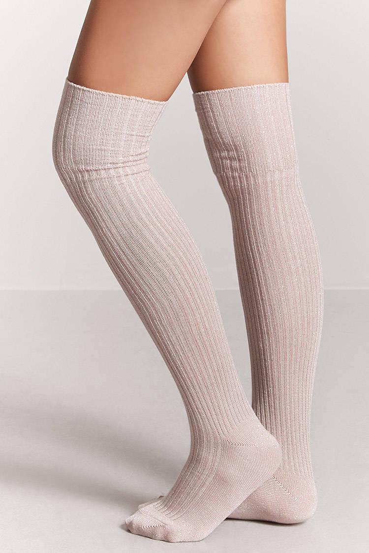 f75bfc6b75e Forever 21 Metallic Over-the-knee Socks - Lyst