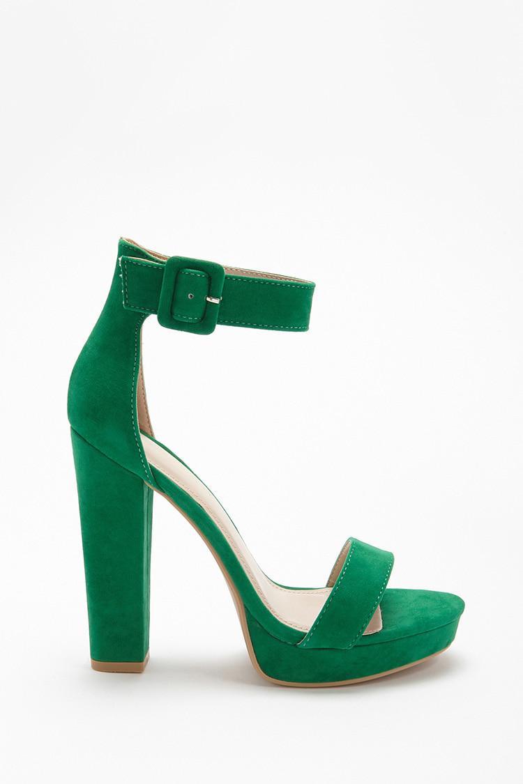 bd1b5e90b8 Forever 21 Shoe Republic Faux Suede Platform Heels in Green - Lyst
