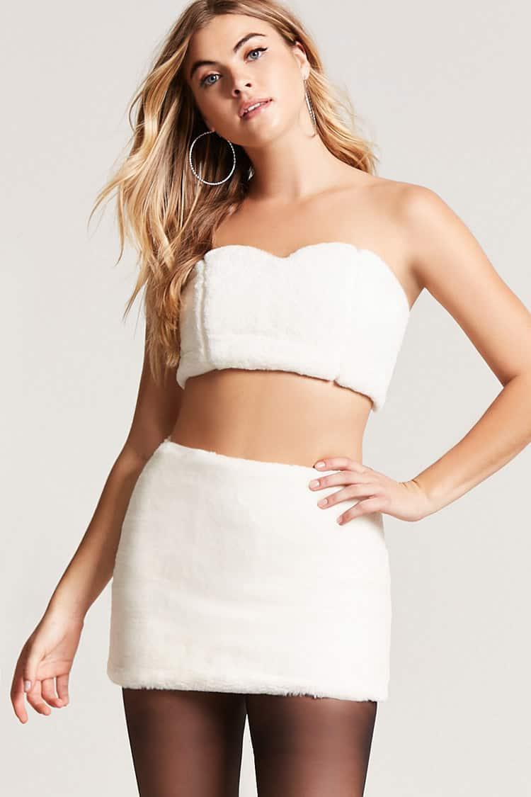 18c3158ce9 Forever 21 Faux Fur Mini Skirt in White - Lyst