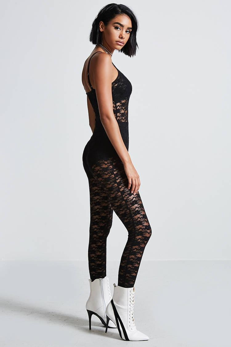 2d4533ff1b9e Forever 21 Sheer Lace Cami Jumpsuit in Black - Lyst