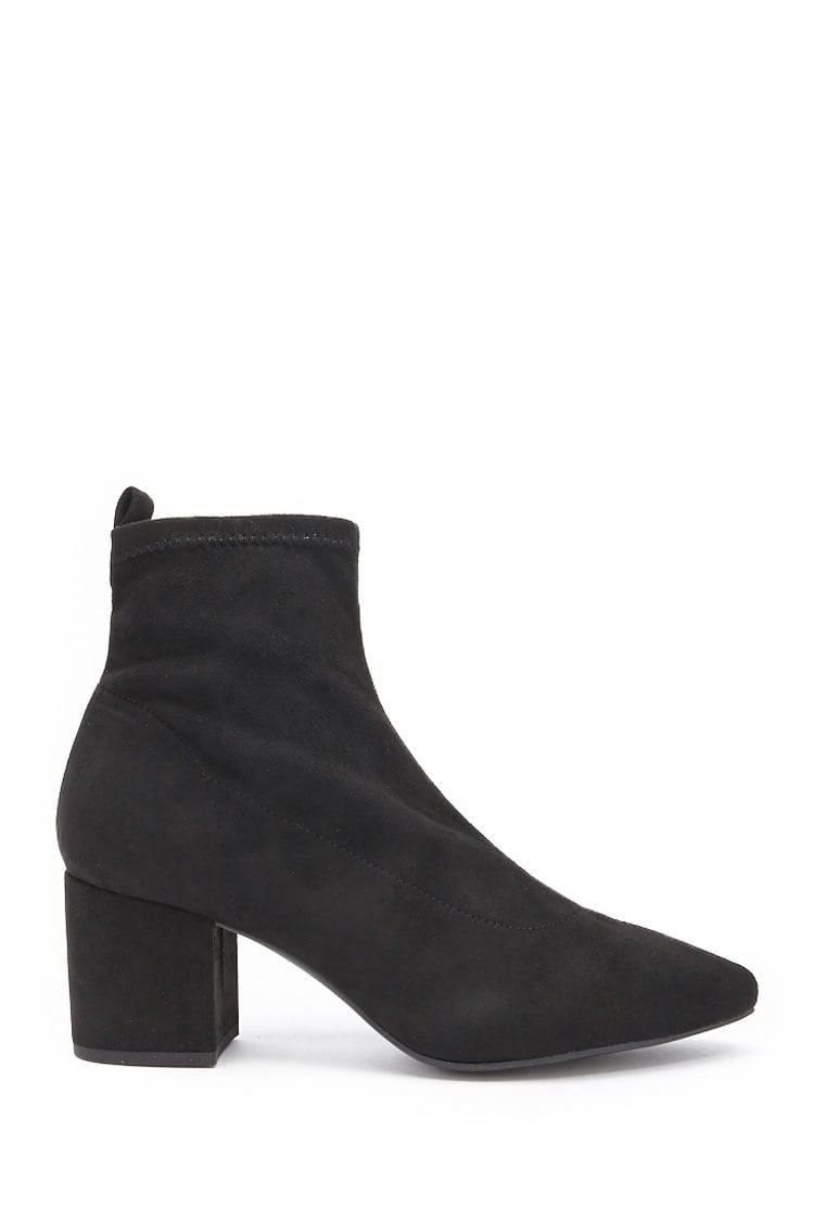 f39f83651d5c Forever 21 Women s Faux Suede Ankle Sock Booties in Black - Lyst