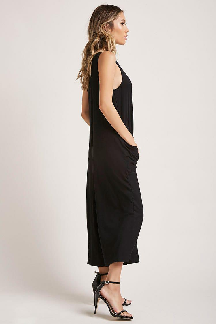 1fc65318feb4 Forever 21 - Black Patch-pocket Culotte Jumpsuit - Lyst. View fullscreen