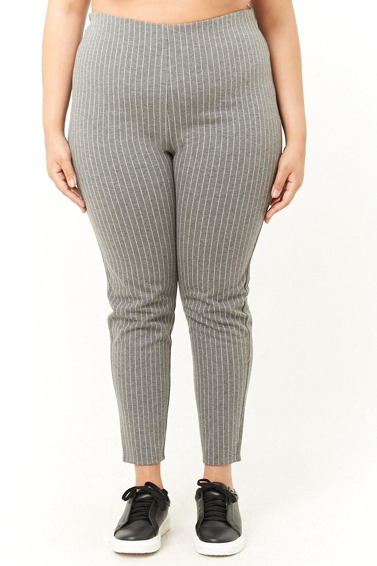 39dfc5bbba9 Forever 21 - Gray Plus Size Pinstriped Leggings - Lyst. View fullscreen