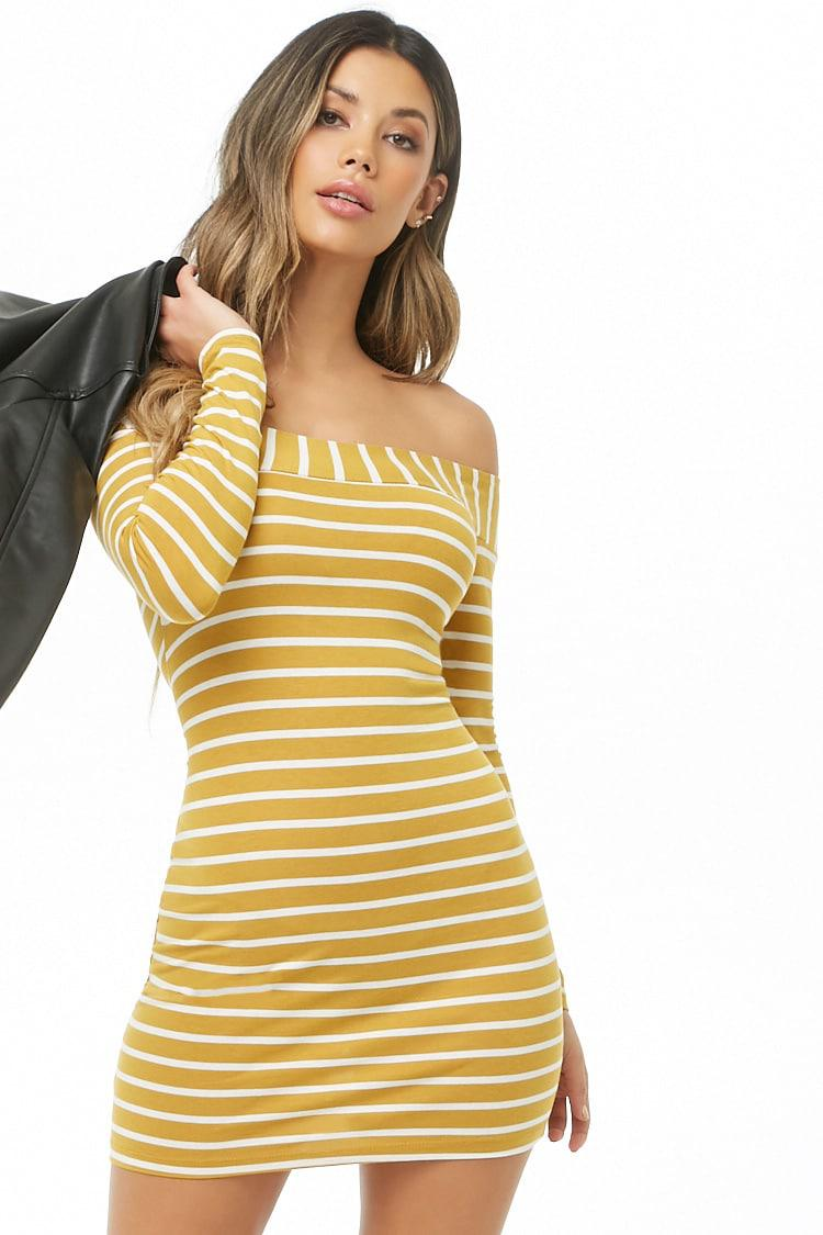 2898604a79e8 Lyst - Forever 21 Striped Off-the-shoulder Mini Dress in Yellow
