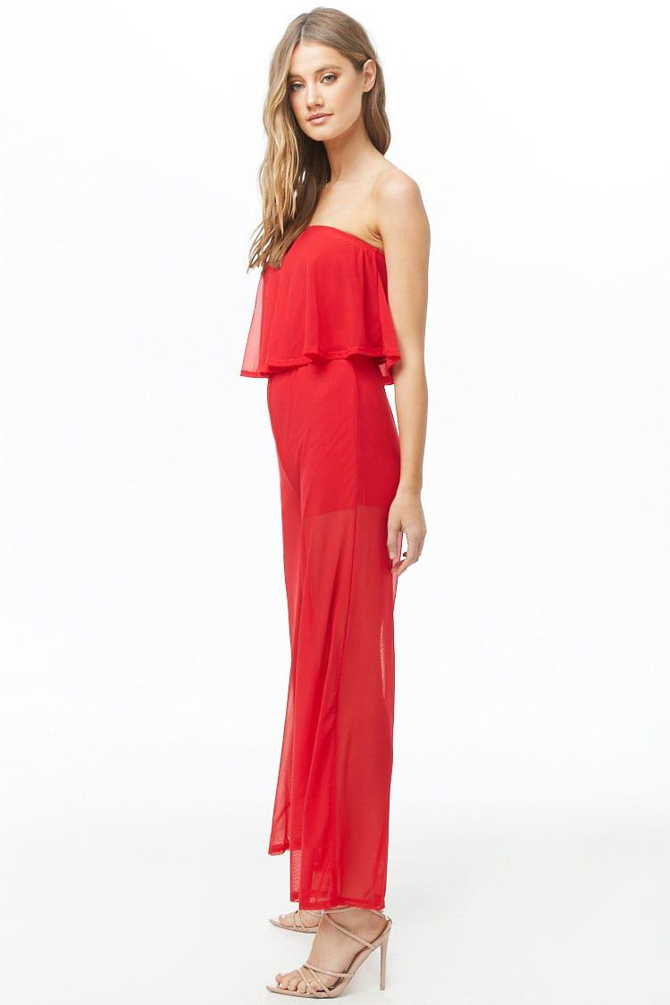 27dcc118d123 Forever 21 - Red Mesh Flounce Jumpsuit - Lyst. View fullscreen