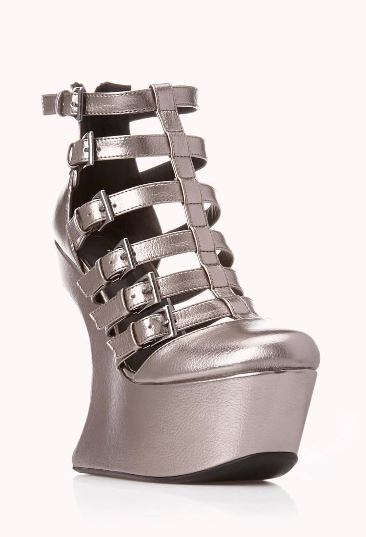 f7271b9939ce Lyst - Forever 21 Bold Heel-less Wedges in Metallic