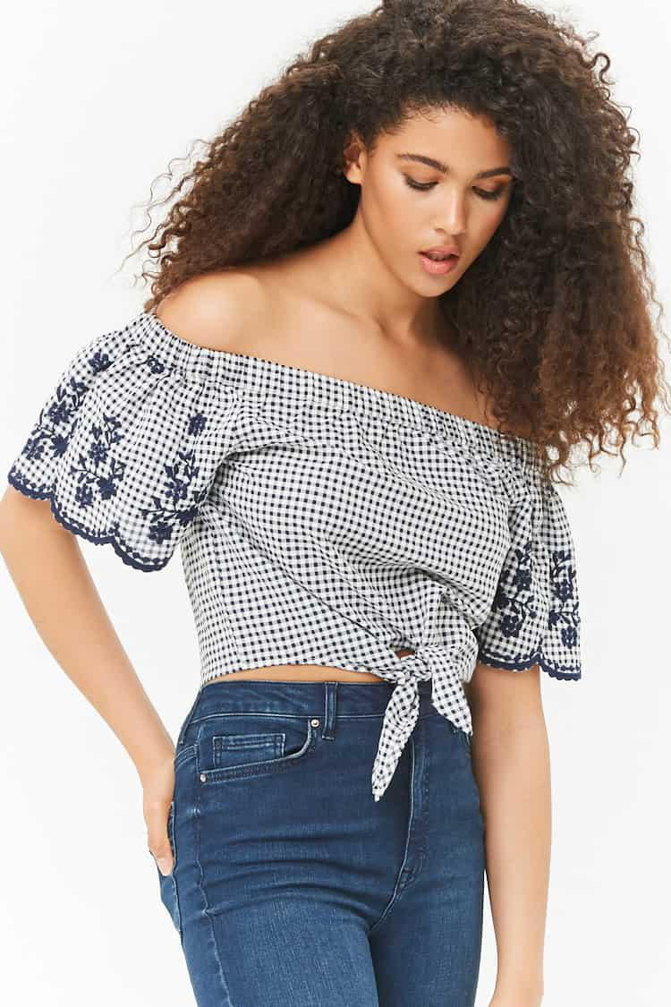 9bdb10d8eb8 Lyst - Forever 21 Embroidered Gingham Off-the-shoulder Crop Top in Blue
