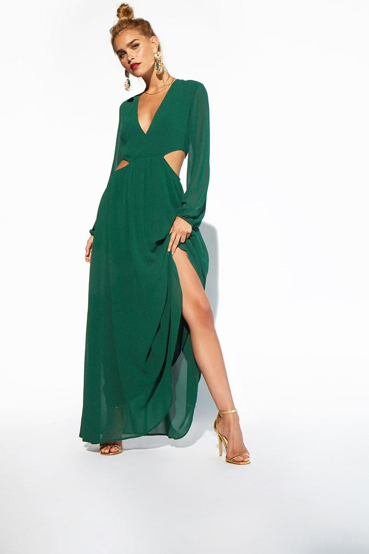 2d38670a0be5 Lyst - Forever 21 Cutout Maxi Dress in Green