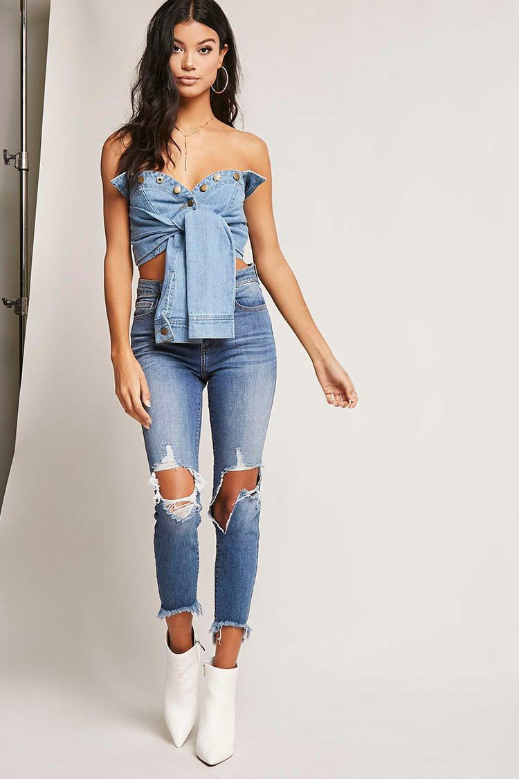5fa2ab52e1 Lyst - Forever 21 Denim Tie-front Tube Top in Blue
