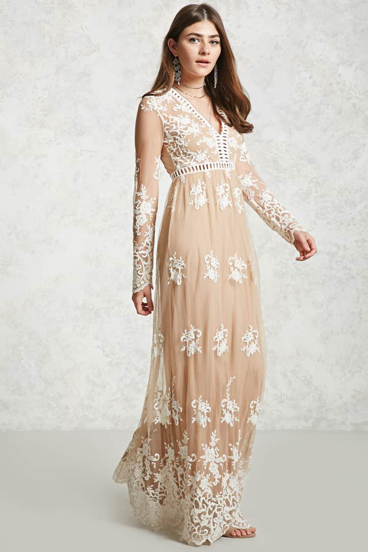 Forever 21 Embroidered Maxi Dress In Natural Lyst