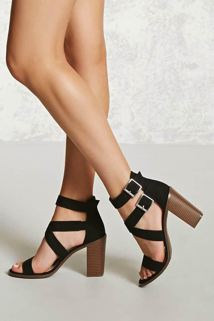 005ece3c4e8f Lyst - Forever 21 Faux Suede Block Heel Sandals in Black