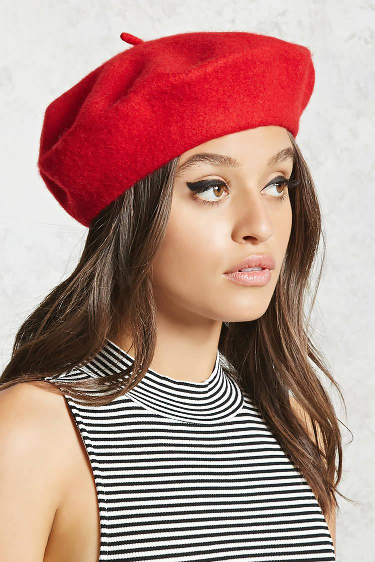 3a2c15a6fbcf2 Forever 21 Wool Beret in Red - Lyst