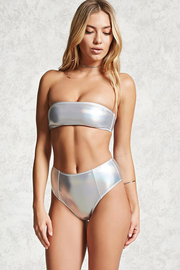 1b4238c9e51e2 Forever 21 High-waisted Bikini Bottoms in Metallic - Lyst