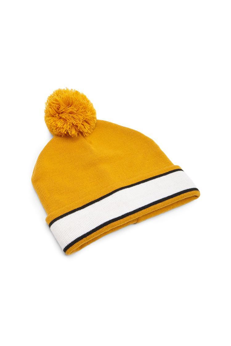 5e1eb0683fd ... Yellow Striped Ribbed Beanie Hat - Lyst. View fullscreen