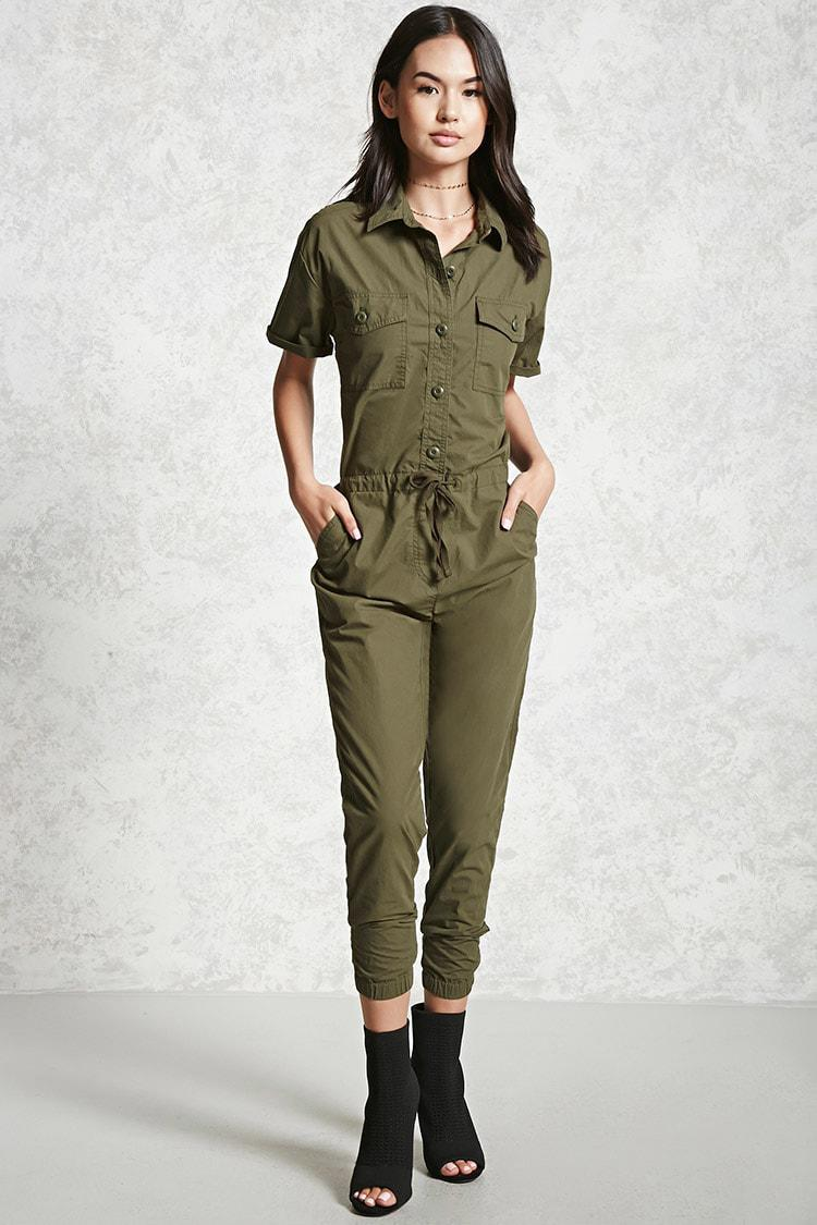 Lyst Forever 21 Buttoned Coverall Jumpsuit In Green