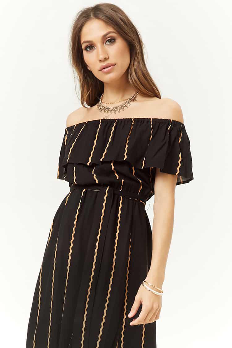 bb15d65a43b Forever 21 Striped M-slit Off-the-shoulder Maxi Dress in Black - Lyst