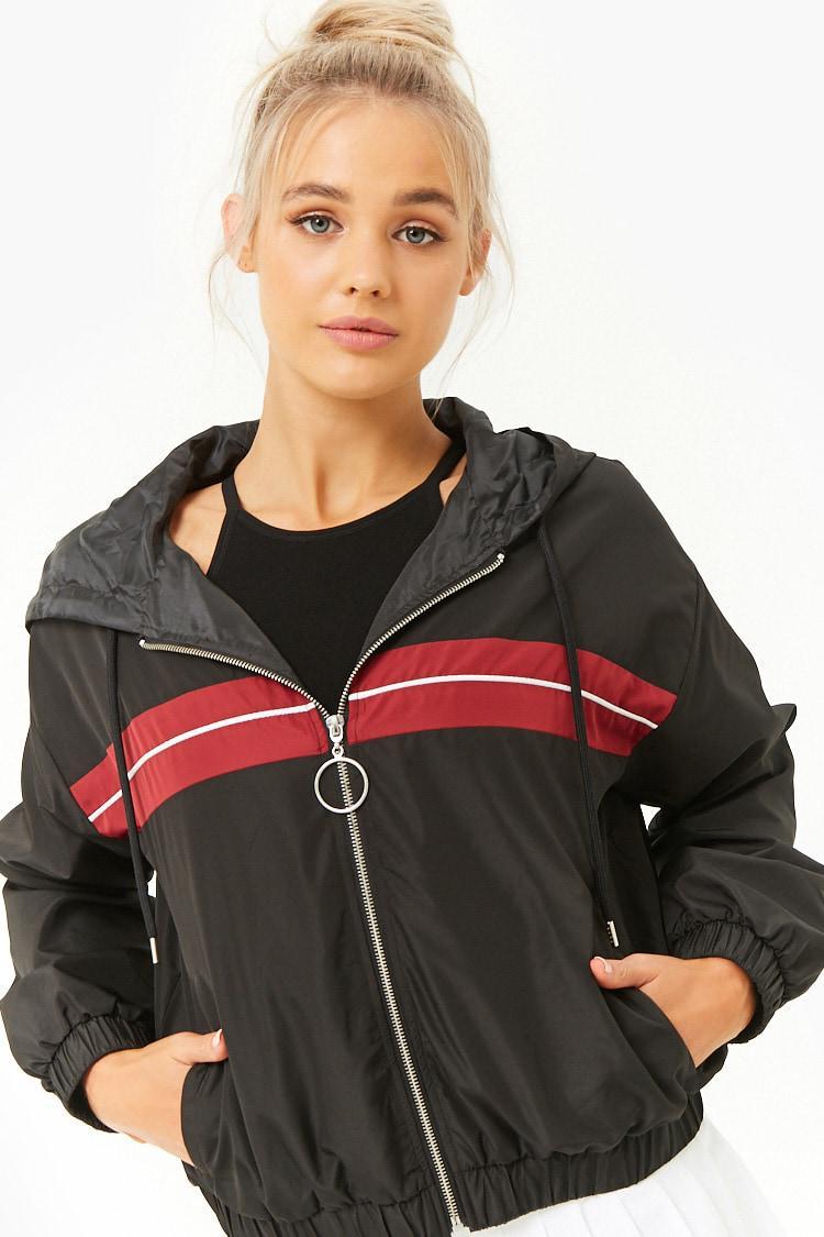 Forever 21 Women's Active Striped-panel Windbreaker Jacket ...