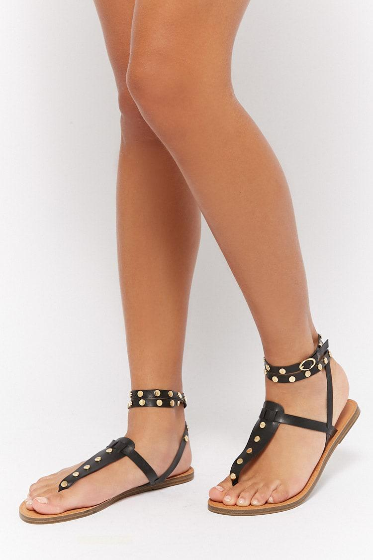 ec0ae6f0863b34 Lyst - Forever 21 Wraparound Studded Gladiator Sandals in Black