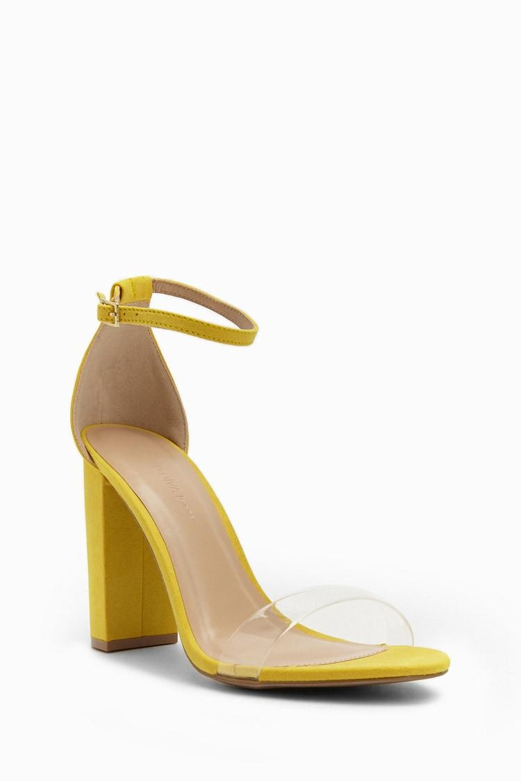 e202789bca6 Lyst - Forever 21 Translucent Strap Faux Suede Block Heels in Yellow