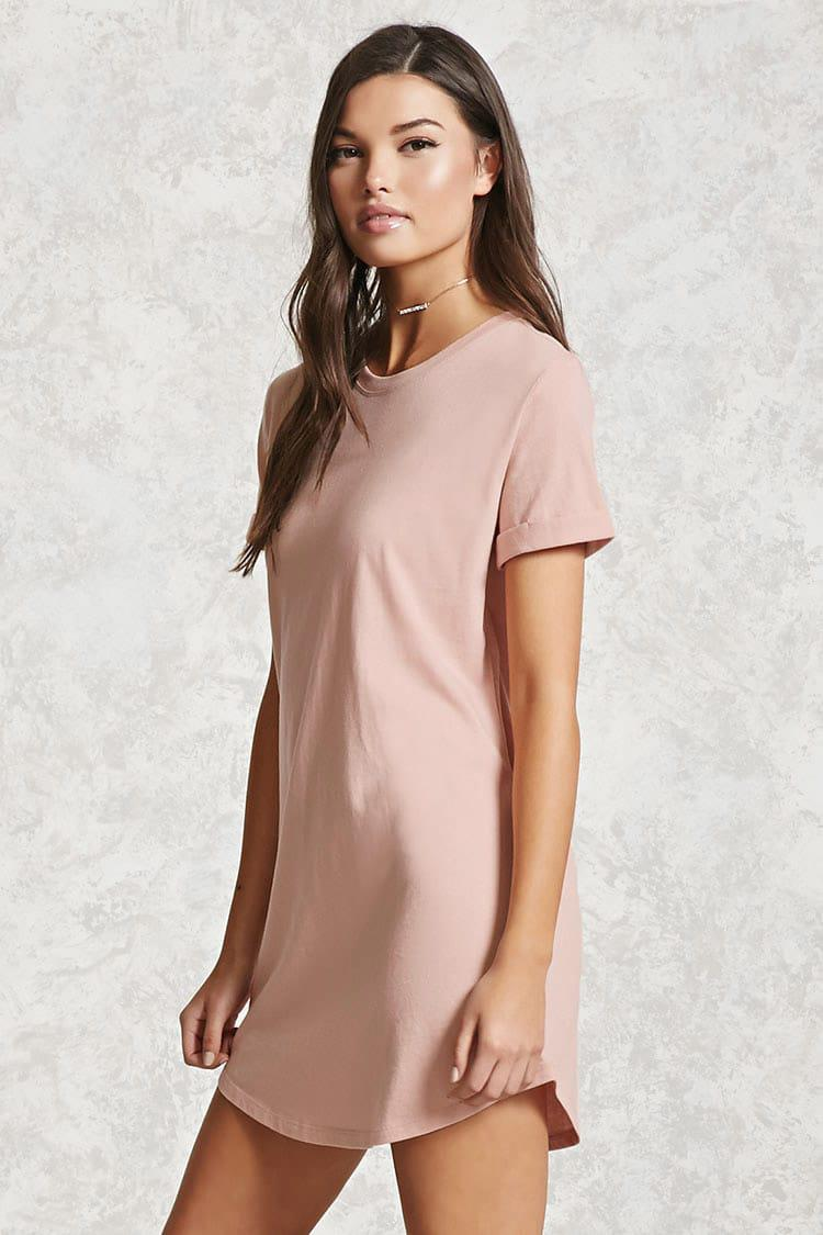 Forever 21 Mini T-shirt Dress in Pink - Lyst 144642b3a9e2