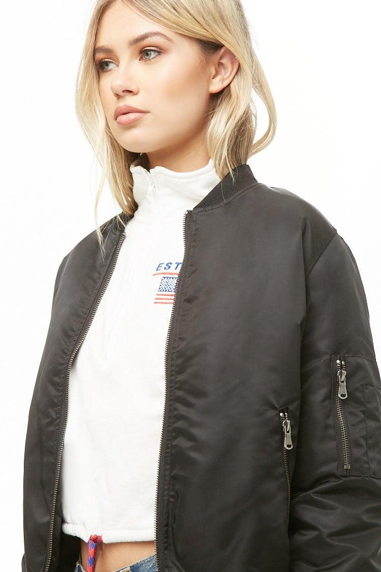 60c184aa2 Black Women's Contrast Trim Bomber Jacket
