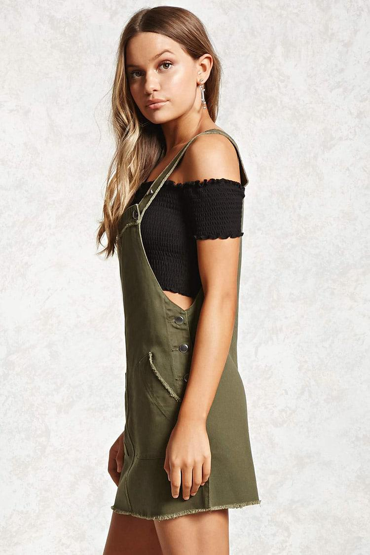 788d7e0d98 Forever 21 Frayed Overall Dress in Green - Lyst