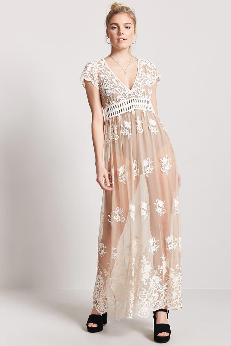 8e9d1d0a7e Lyst - Forever 21 Sheer Embroidered Maxi Dress in Natural