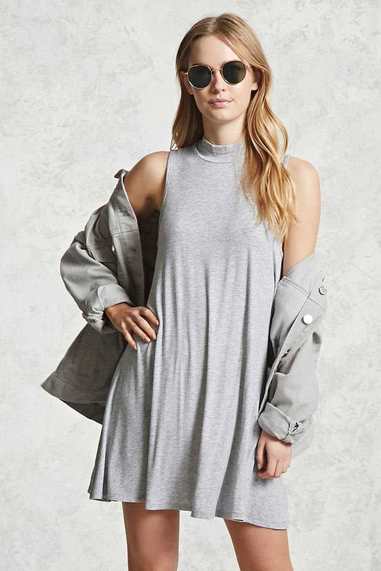 79acf09d647b Forever 21 Ribbed Mock Neck Swing Dress in Gray - Lyst