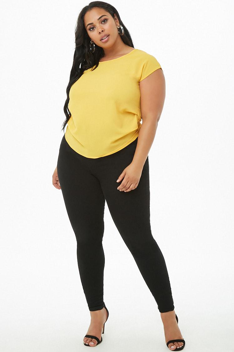 c428e07f330b58 Forever 21 - Yellow Women's Plus Size Crepe Ruched Top - Lyst. View  fullscreen