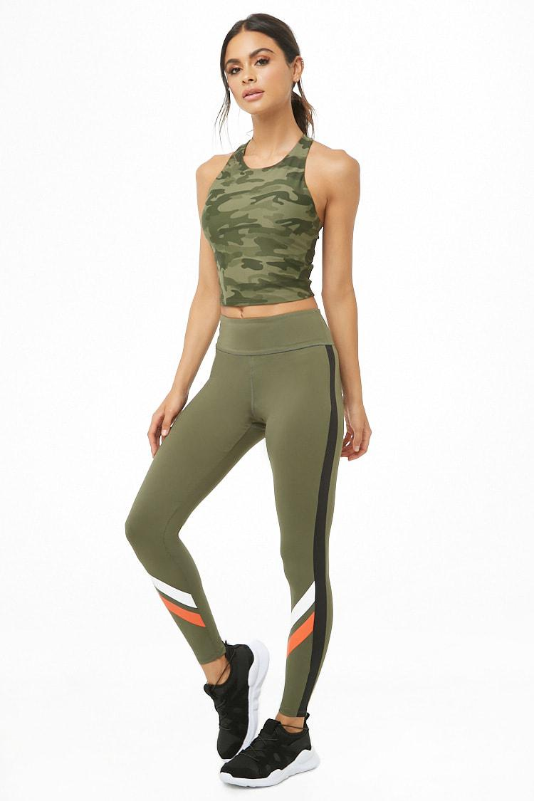 bac8abaf50b34 Forever 21 Women's Active Striped-trim Leggings in Green - Lyst