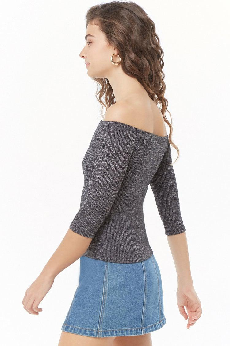 d86ce75761014 Lyst - Forever 21 Ribbed Marled Off-the-shoulder Top in Gray