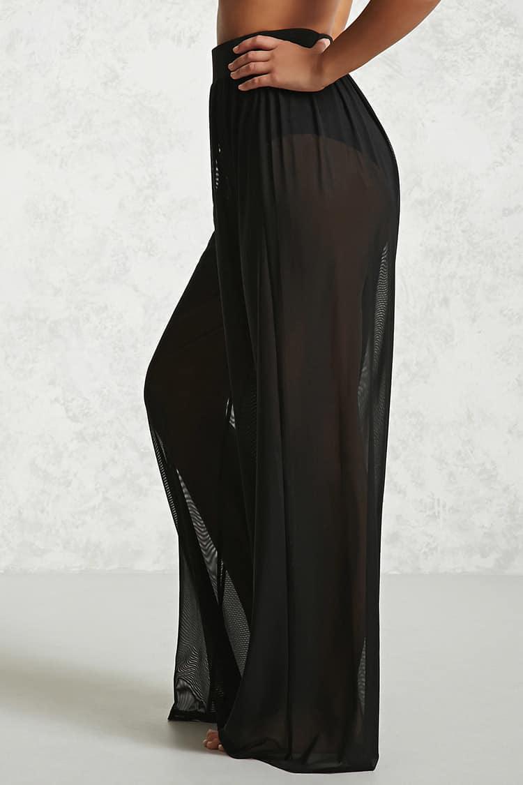 e756ed2ba4 Forever 21 Sheer Mesh Swim Cover-up Pants in Black - Lyst