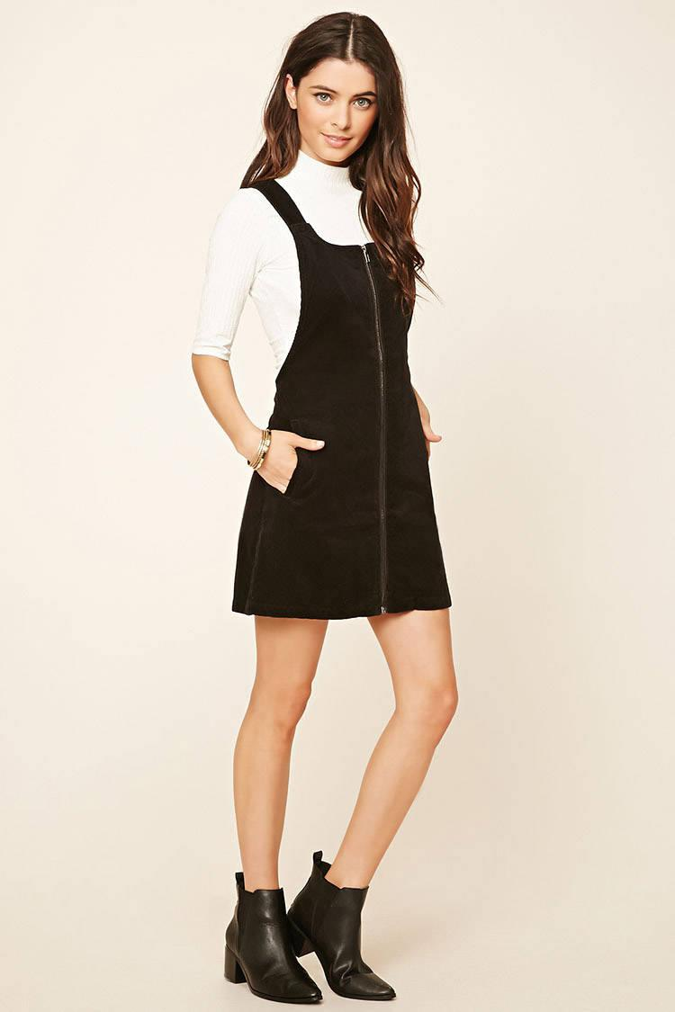 efc910311 Forever 21 Corduroy Overall Dress in Black - Lyst