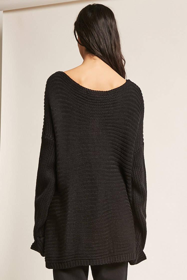 Forever 21 Oversized V-neck Sweater in Black | Lyst