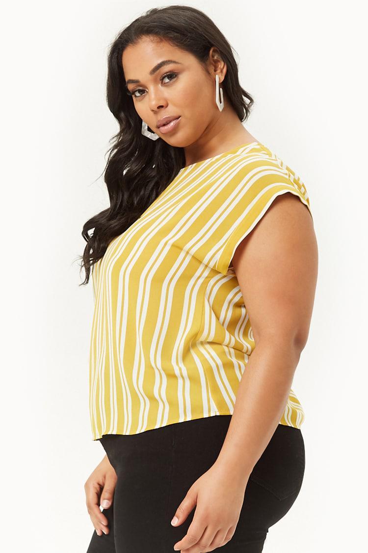 a0b1574de10178 Forever 21 - Yellow Women's Plus Size Striped Chiffon Top - Lyst. View  fullscreen