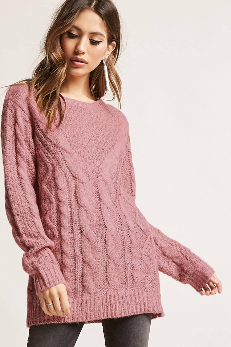 Forever 21 Marled Cable Knit Sweater in Pink | Lyst