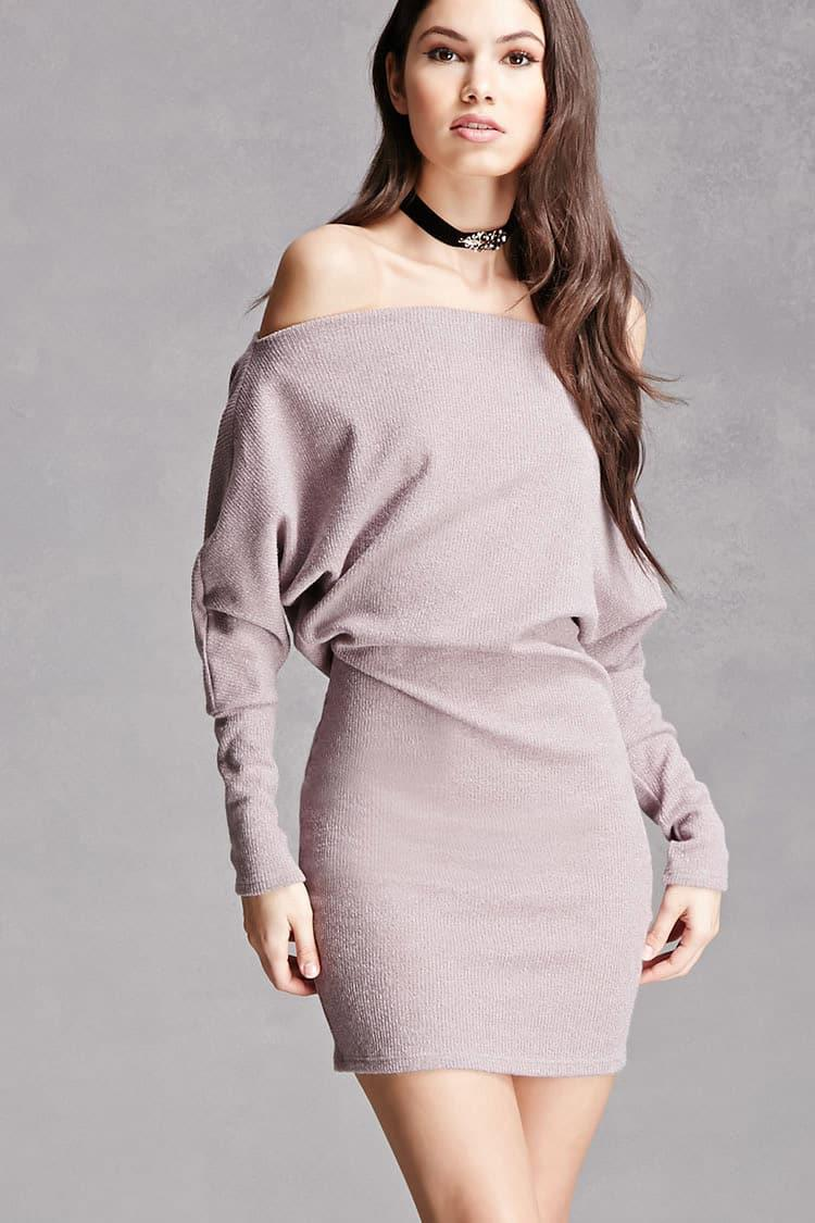 Lyst Forever 21 Off The Shoulder Sweater Dress In Purple