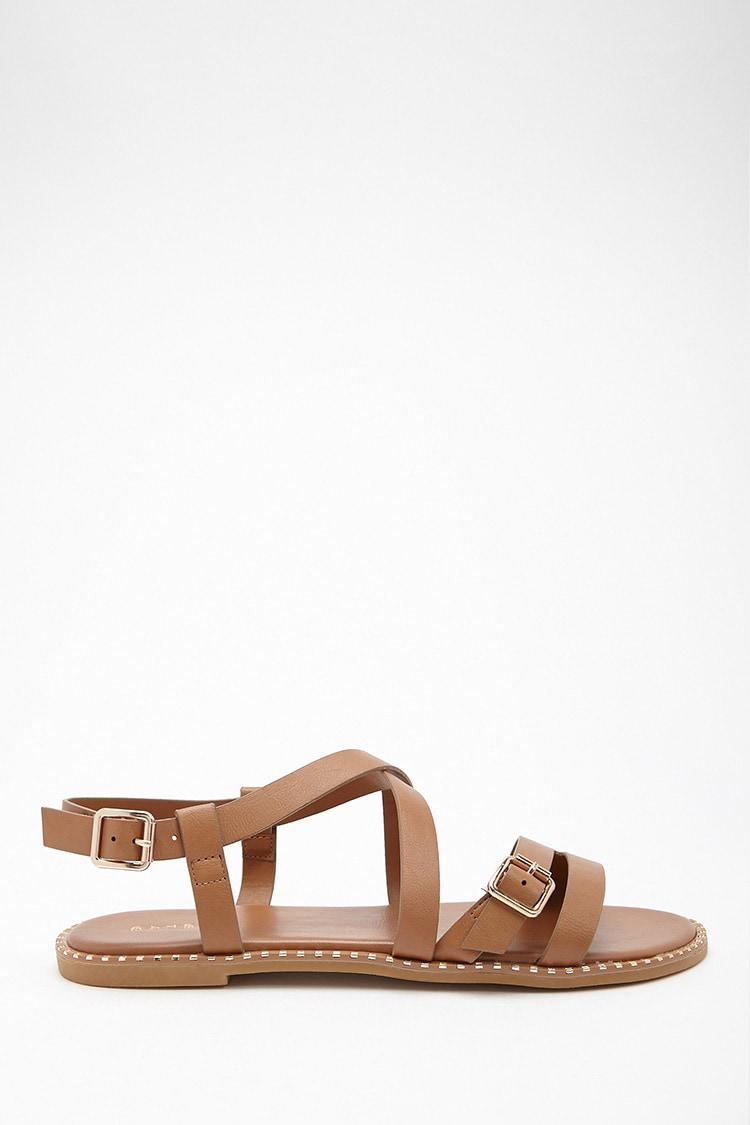 416e3d6c1985 Lyst - Forever 21 Faux Leather Strappy Sandals in Brown