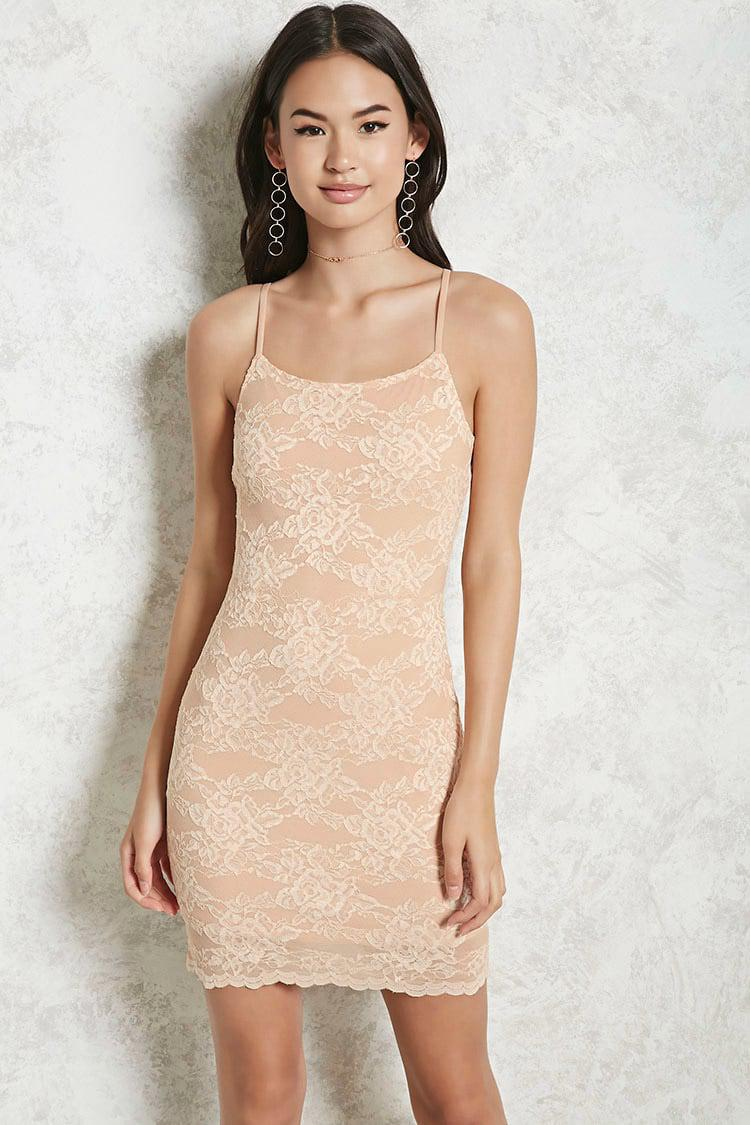 da13949b13d Forever 21 Chantilly Lace Bodycon Dress in Natural - Lyst