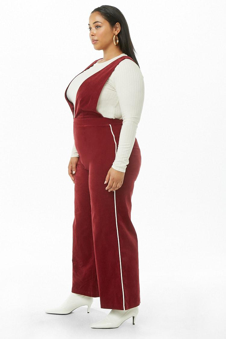 4658f036af8 Forever 21 Women s Plus Size Corduroy Pinafore Striped-trim Jumpsuit ...
