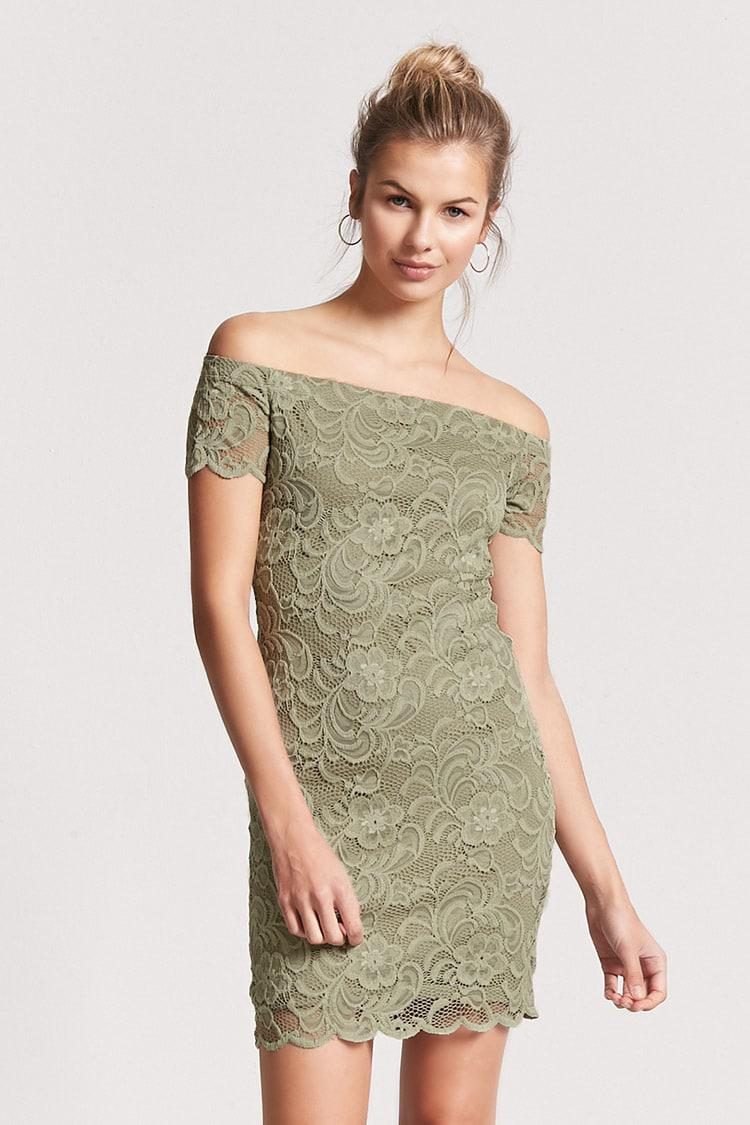 d10b43c951 Lyst - Forever 21 Lace Off-the-shoulder Bodycon Dress in Green
