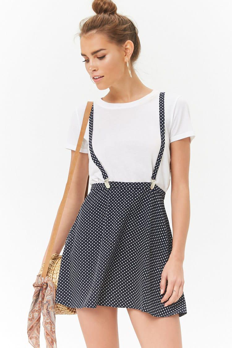 ca2a0e9544 Forever 21 Polka Dot Suspender Skirt in Blue - Lyst