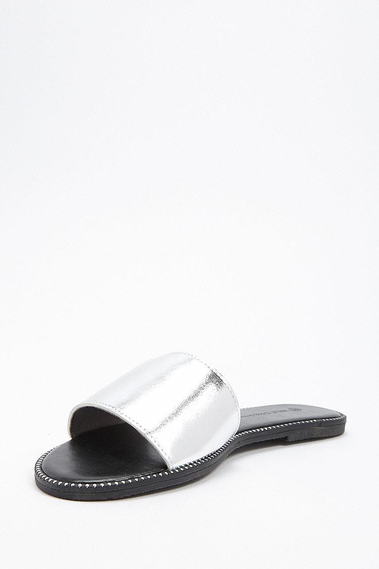 68865ba3bc90 Forever 21 - Metallic Studded Slide Sandals - Lyst. View fullscreen