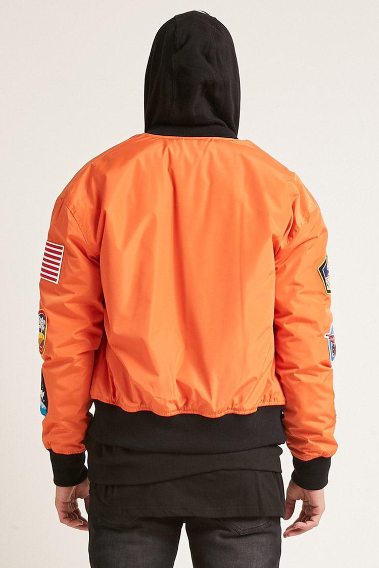 Forever 21 Nasa Patched Bomber Jacket in Orange for Men - Lyst