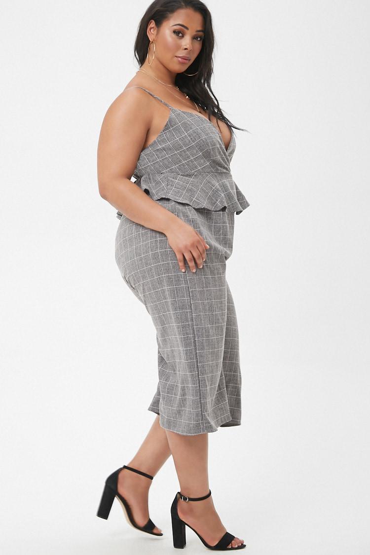 e68ee19b33 Forever 21 Women s Plus Size Marled Slub Woven Grid Peplum Culotte ...